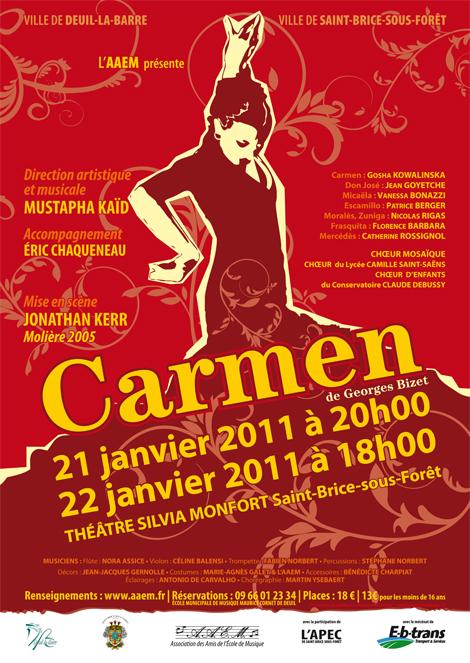 Affiche de l'opéra Carmen des 21 et 22 janvier 2011